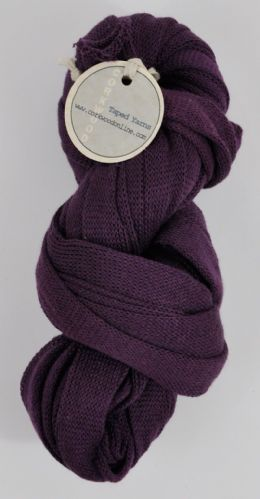 100g Aubergine 100% Cotton Ultra wide 3/4 inch chunky tape tubular yarn